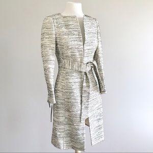 Zara metallic tweed boucle long tie dress coat
